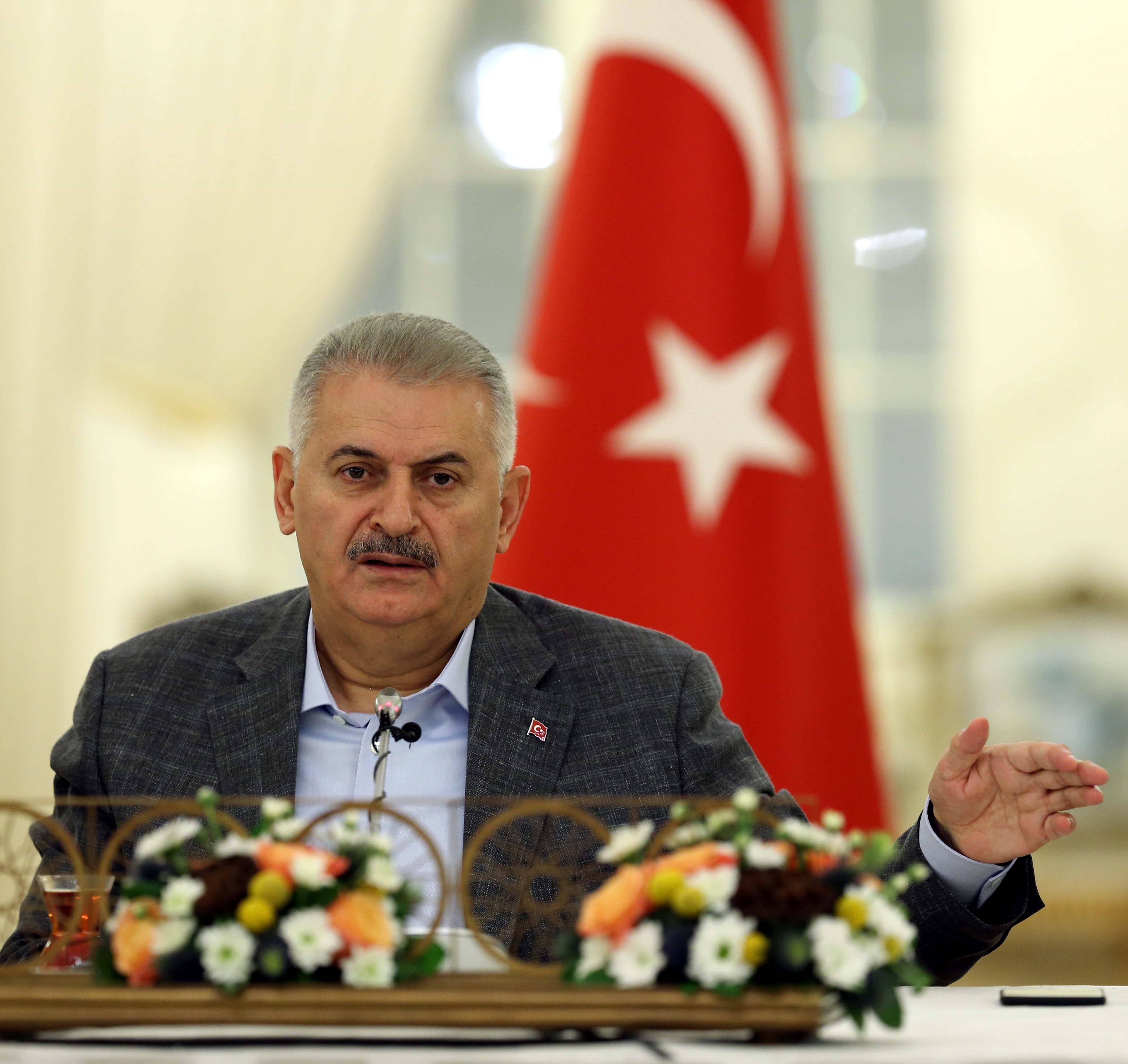 ANKARA, TURKEY - AUGUST 13: Turkish Prime Minister Binali Yildirim speaks to press members at Cankaya Palace in Ankara, Turkey on August 13, 2016.  (Photo by Utku Ucrak/Anadolu Agency/Getty Images)