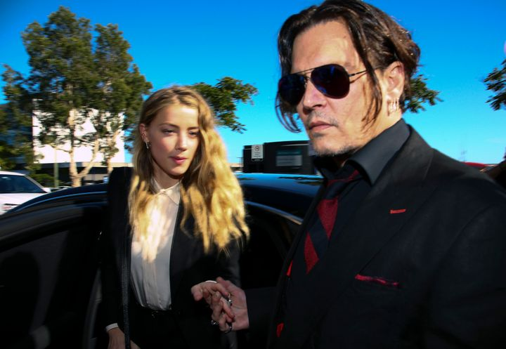 Johnny Depp and Amber Heard arrive together at an Australian court in April 2016.
