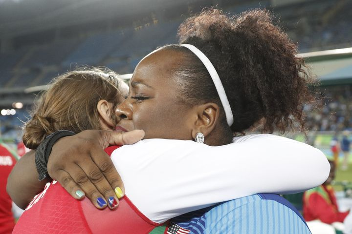 Michelle Carter is congratulated after winning the Women's Shot Put Final during the athletics event at the Rio 2016 Olympic