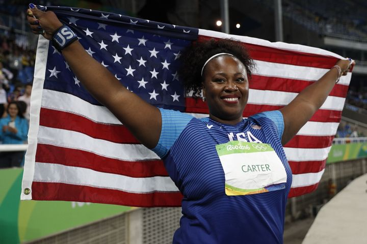 Michelle Carter celebrates winning the Women's Shot Put Final during the athletics event at the Rio 2016 Olympic Games at the