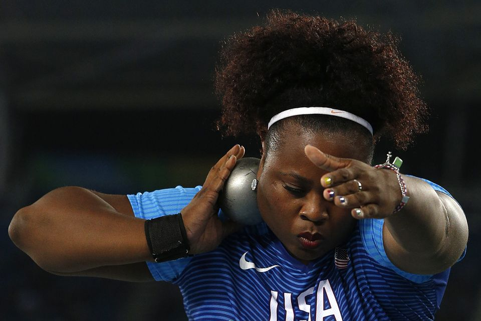 USA's Michelle Carter competes in the Women's Shot Put Final during the athletics event at the Rio 2016 Olympic Games at the