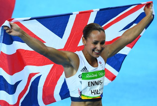 Britain's Jessica Ennis-Hill celebrates after she won silver in the Women's