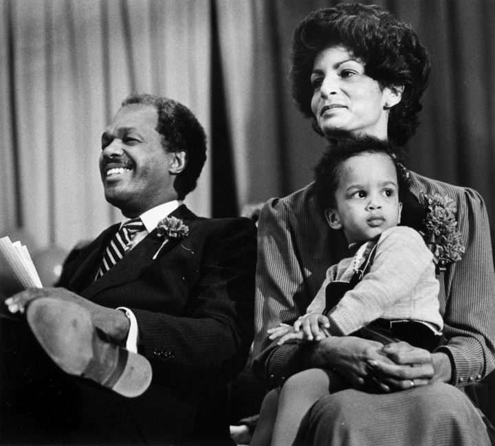 D.C. Mayor Marion Barry with his wife Effi and son Christopher in 1982.