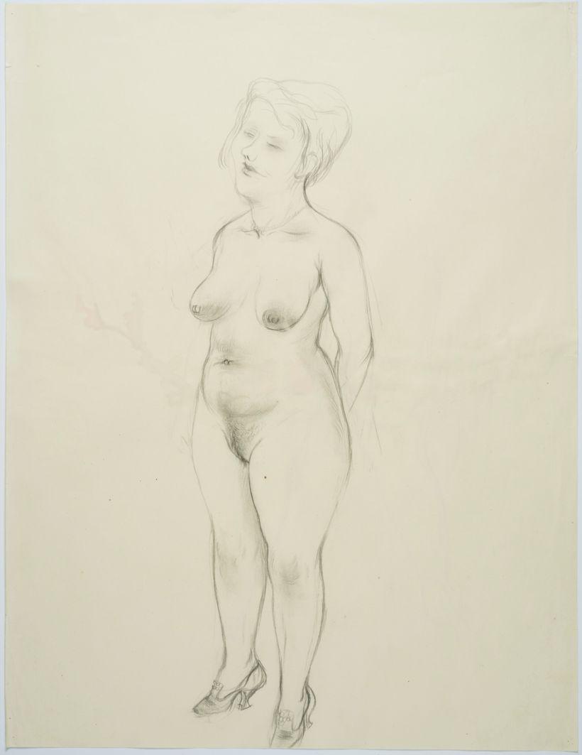 "<i>Standing female Nude</i> &copy; Estate of George Grosz<br>Courtesy <a href=""http://www.sidebysidegallery.com"" target=""_bla"