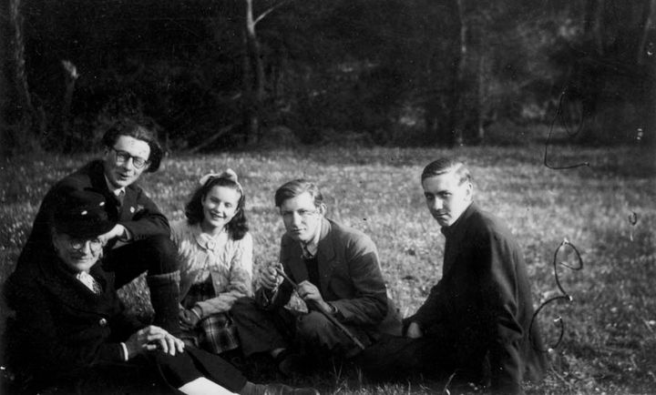 <i>Clem Dowler (2nd from the right) and Herb Campbell (far right) in occupied France</i>