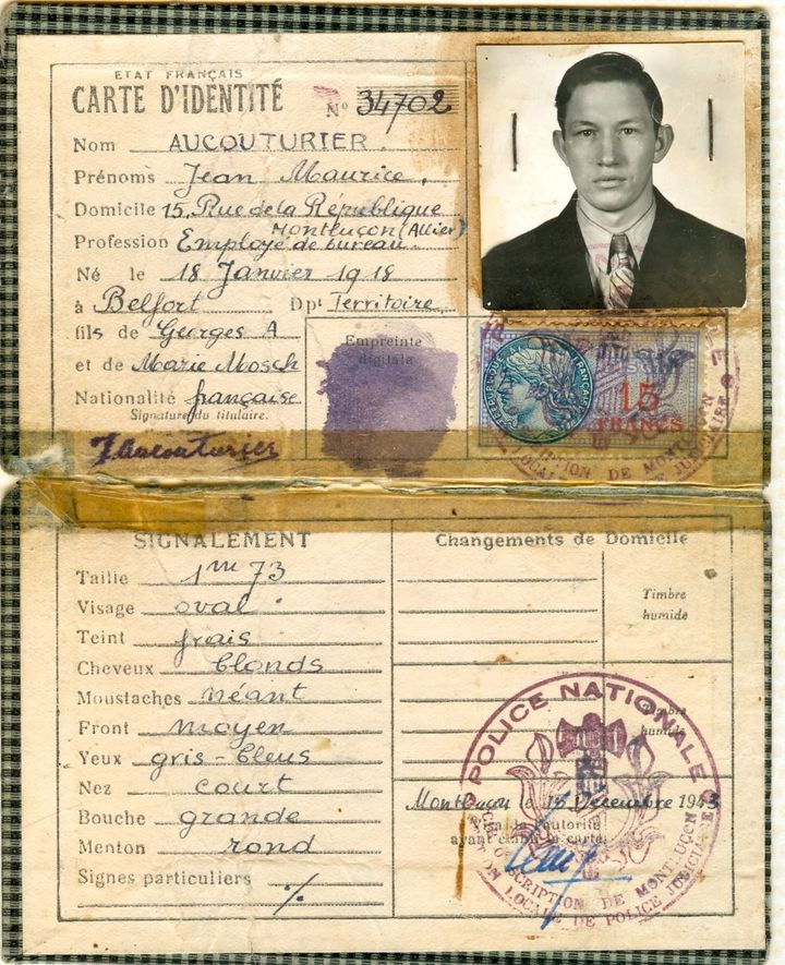 """<i>Clem's forged French identification identifying him as """"Jean Maurice Aucouturier""""</i>"""