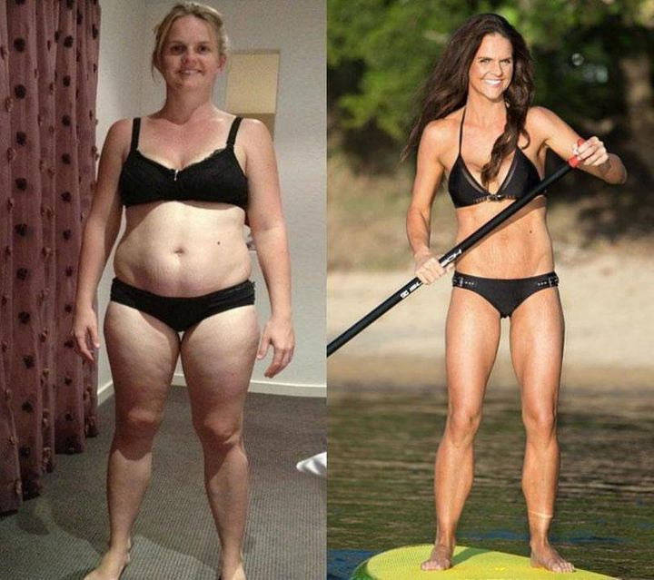 Sharny's fitness transformation the first time.