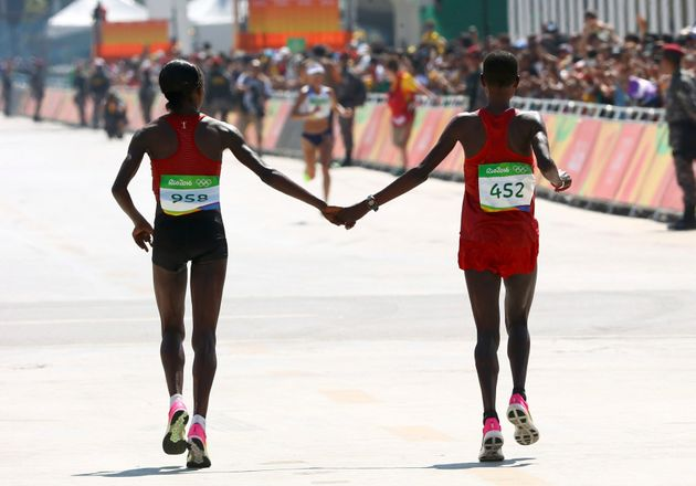 Sumgong only beat her rival by nine seconds in the road