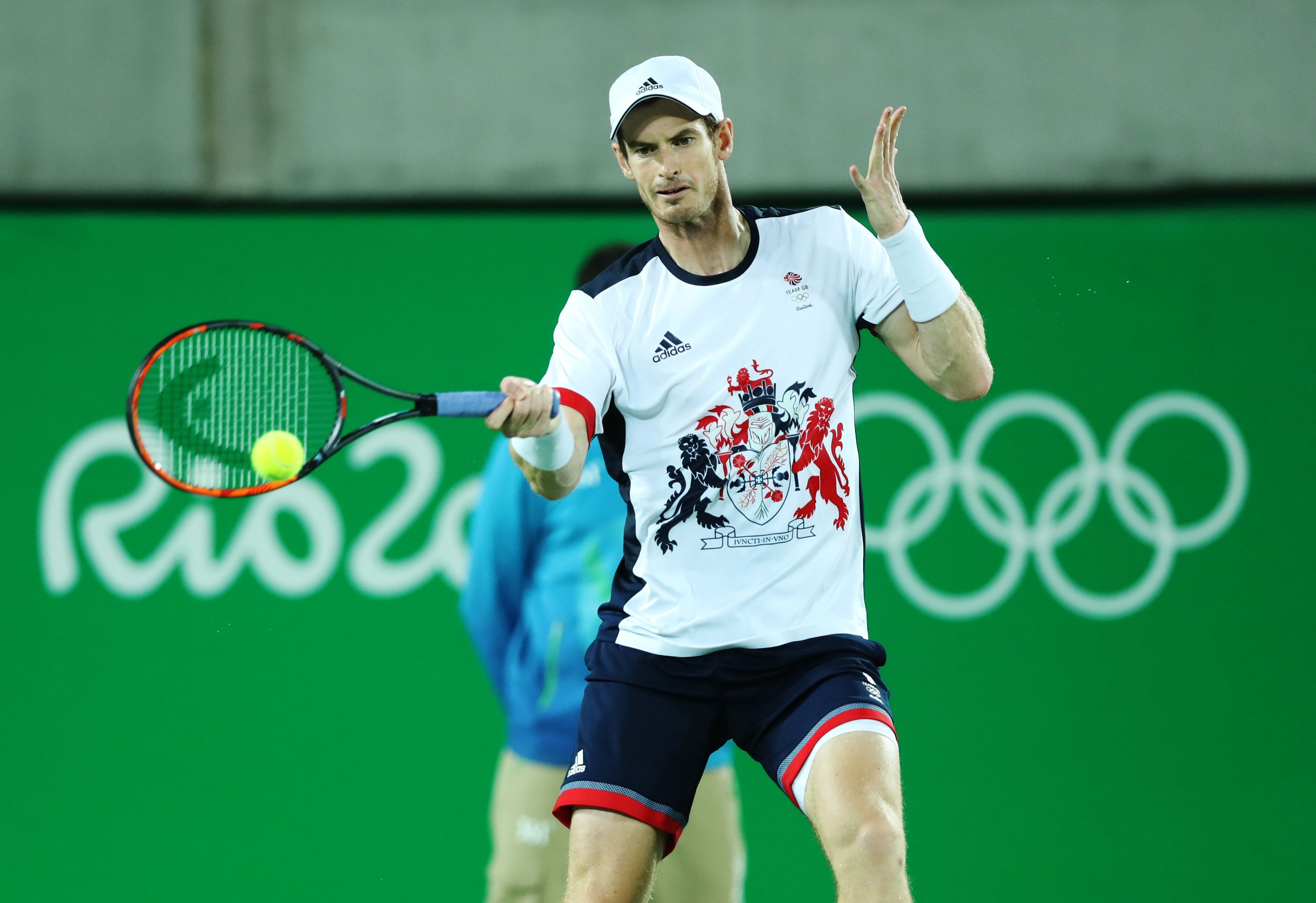 RIO DE JANEIRO, BRAZIL - AUGUST 14:  Andy Murray of Great Britain in action during the Men's singles Gold medal match against Juan Martin del Potro of Argentina at Olympic Tennis Centre on August 14, 2016 in Rio de Janeiro, Brazil. (Photo by Ian MacNicol/Getty Images)