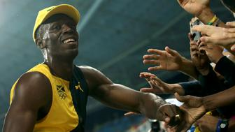 2016 Rio Olympics - Athletics - Final - Men's 100m Final - Olympic Stadium - Rio de Janeiro, Brazil  14/08/2016. Usain Bolt (JAM) of Jamaica celebrates after winning the race      REUTERS/Gonzalo Fuentes  FOR EDITORIAL USE ONLY. NOT FOR SALE FOR MARKETING OR ADVERTISING CAMPAIGNS.