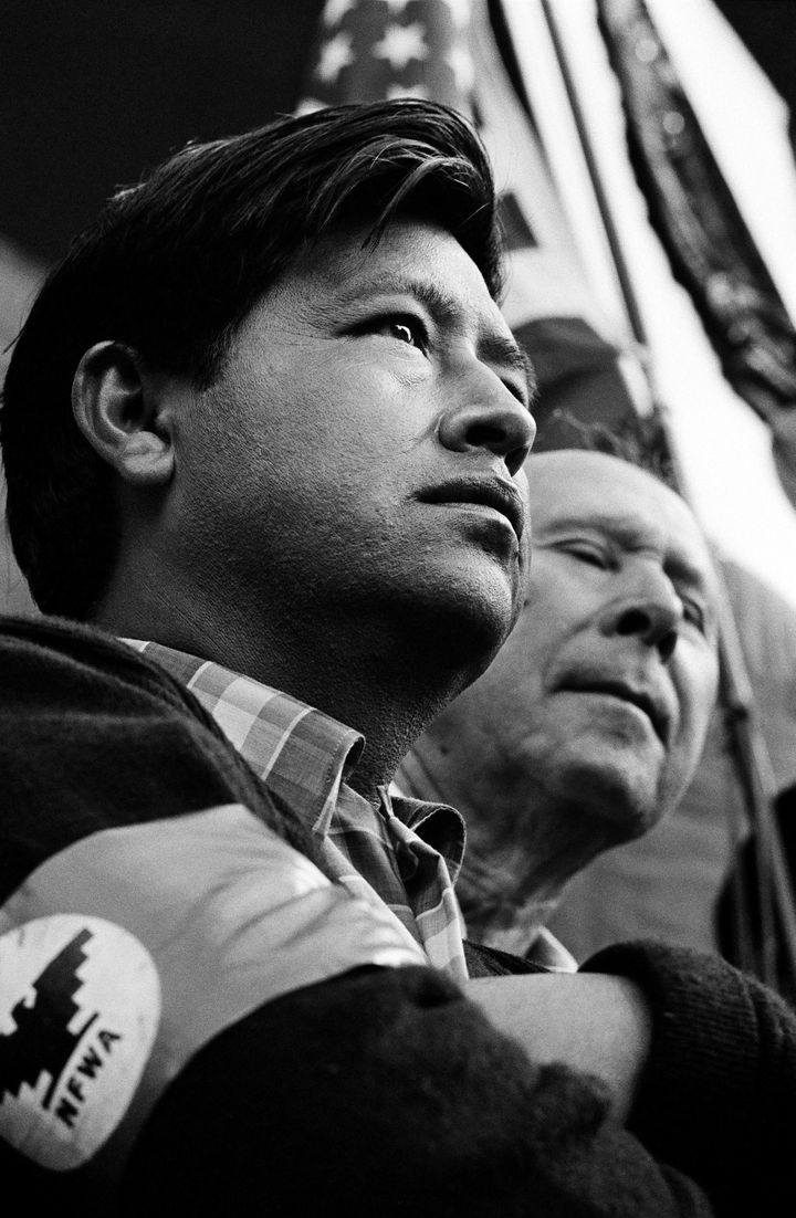 Cesar Chavez during his 300-mile march to the California State Capitol. (Jim Marshall, 1966.)