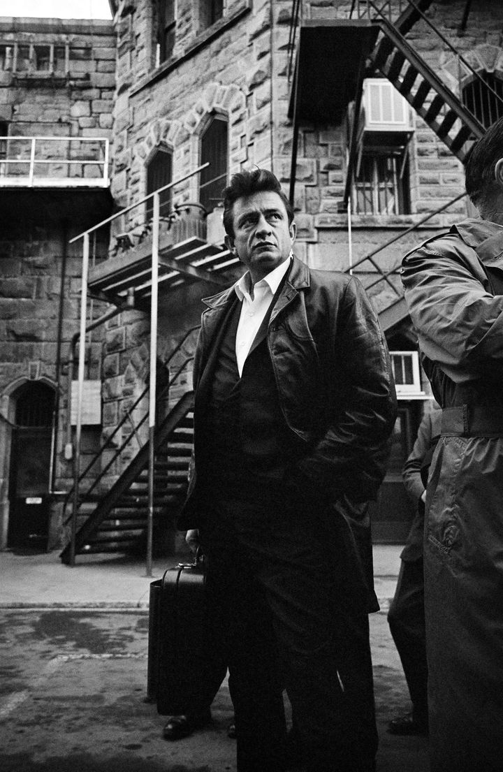 Johnny Cash at Folsom State Prison in California. (Jim Marshall, 1968.)