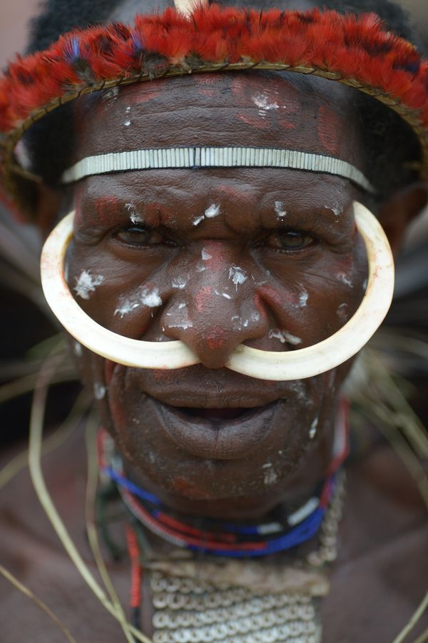 A Dani man in Wamena on Aug. 8, 2016. The man was participating in the 27th Baliem Valley Festival, featuring highland tribes