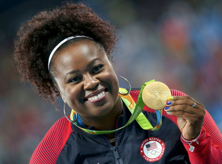 Michelle Carter of Team USA poses with the gold medal.