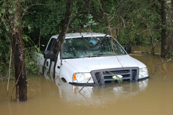 A truck is submerged in Amite, Louisiana on Sunday Aug. 14, 2016.