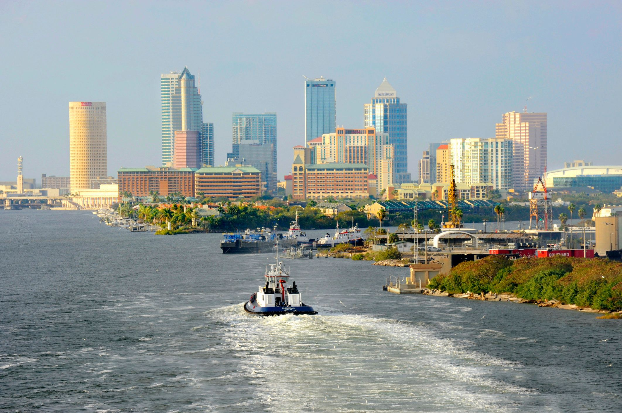 Downtown skyline from cruise ship, Tampa, Florida