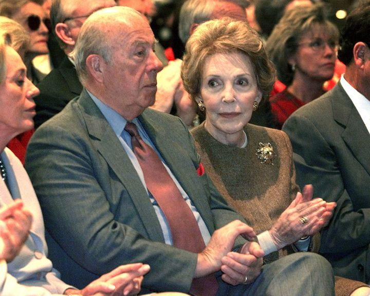 Former Secretary of State George Shultz and former first lady Nancy Reagan.
