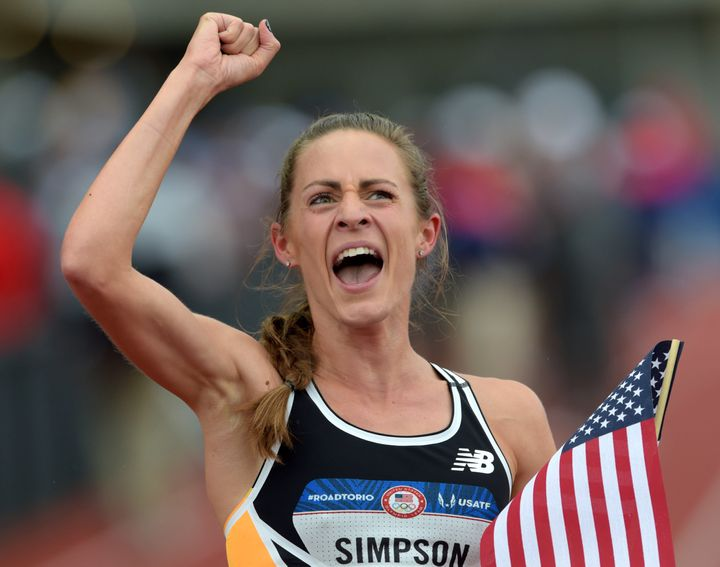 Jenny Simpson reacts after competing in the the women's 1500m finals in the 2016 U.S. Olympic track and field team tria
