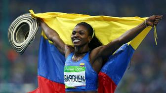 2016 Rio Olympics - Athletics - Final - Women's Triple Jump Final - Olympic Stadium - Rio de Janeiro, Brazil - 14/08/2016. Caterine Ibarguen (COL) of Colombia celebrates winning the gold medal. REUTERS/Ivan Alvarado FOR EDITORIAL USE ONLY. NOT FOR SALE FOR MARKETING OR ADVERTISING CAMPAIGNS.