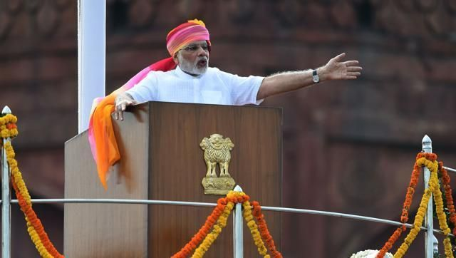 Prime Minister Narendra Modi gestures as he delivers his Independence Day speech from The Red Fort in New Delhi.