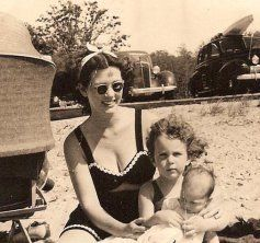 Here I am at the beach with my mom and my sister before I contracted polio.
