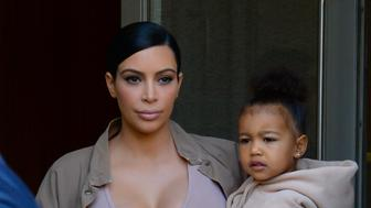NEW YORK, NY - SEPTEMBER 16:  Kim Kardashian West and North West are seen walking in Soho on September 16, 2015 in New York City.  (Photo by Raymond Hall/GC Images)