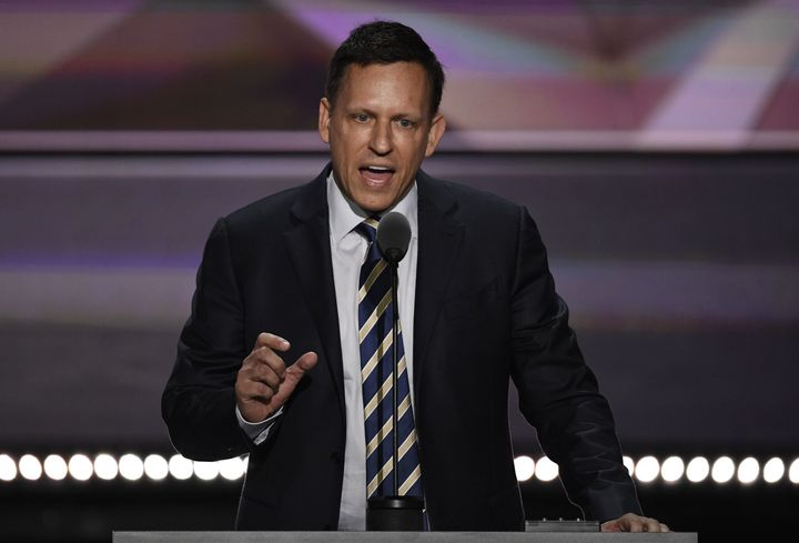 Peter Thiel spoke in support of Donald Trump at the Republican National Convention in July 2016.