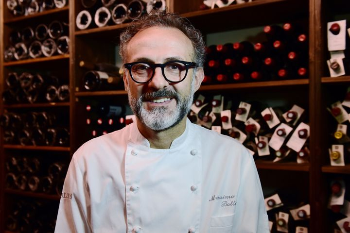 A picture taken on July 7, 2016 shows Italian chef Massimo Bottura posing in the kitchen of his restaurant 'Osteria Francesca