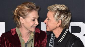 LOS ANGELES, CA - FEBRUARY 10:  Portia de Rossi and Ellen DeGeneres arrives at SAINT LAURENT At The Palladium at Hollywood Palladium on February 10, 2016 in Los Angeles, California.  (Photo by C Flanigan/WireImage)