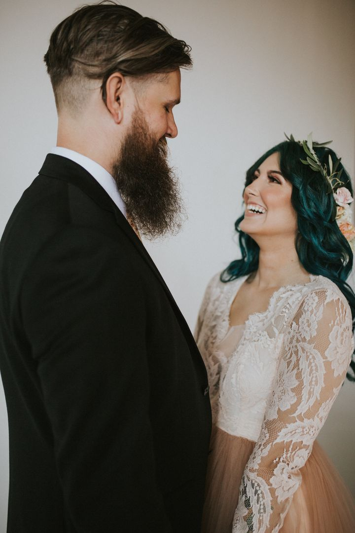 The couple was radiating love on their wedding day.