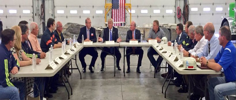 Donald Trump meets with coal miners and leaders from the Virginia coal industry.