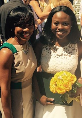 Stacy Hawkins Adams with daughter, on high school graduation day.