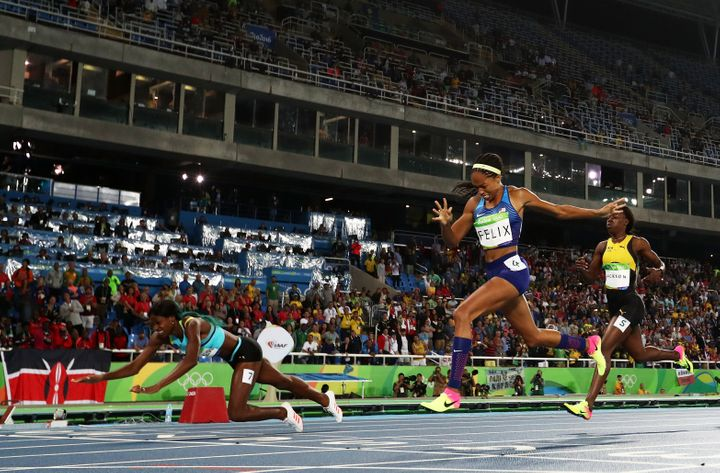 Allyson Felix won a silver medal in the women's 400-meter dash on Monday night.