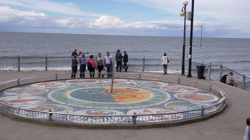A giant sundial decorates Svetlogorsk's beach promenade