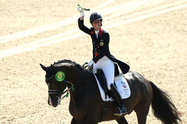 Charlotte Dujardin of Great Britain riding Valegro after winning her