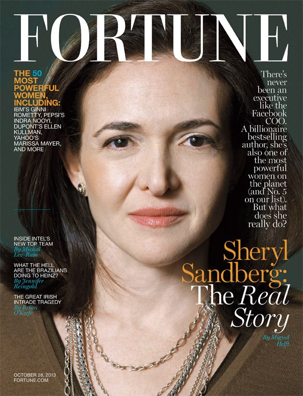In October 2013, Sandberg was the subject of a <i>Fortune</i> cover story.
