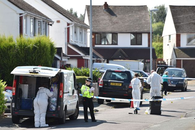 Officers and forensic teams outside an address in Meadow Close in the Trench area of Telfordfollowing...
