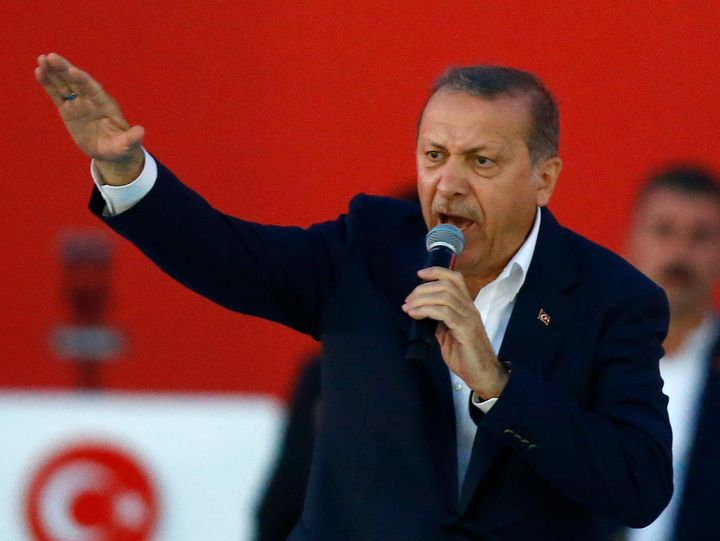 Turkish President Tayyip Erdogan speaks during Democracy and Martyrs Rally, organized by him and supported by ruling AK Party