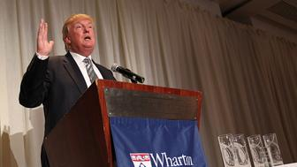 WASHINGTON, DC - OCTOBER 22:  Joseph Wharton Award Honoree Donald J. Trump, Chairman & President, The Trump Organization, speaks at The Wharton Club's 44th Annual Wharton Award Dinner at  the Park Hyatt Washington hotel on October 22, 2014 in Washington, DC.  (Photo by Paul Morigi/Getty Images)