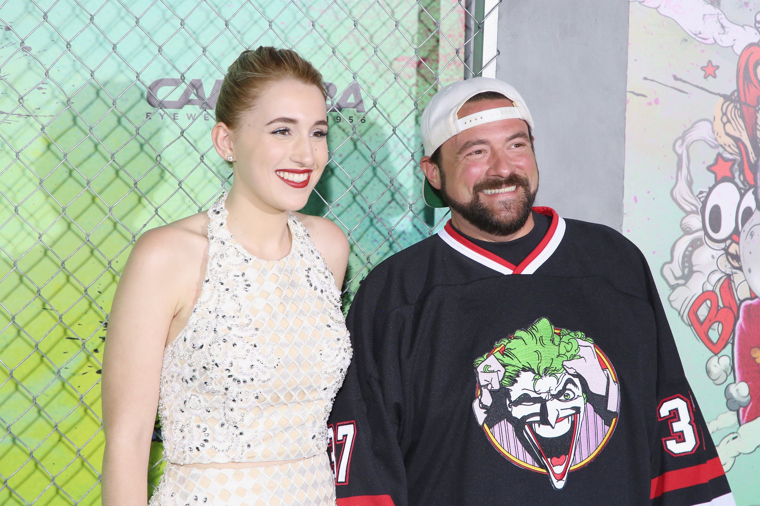 NEW YORK, NY - AUGUST 01:  Harley Quinn Smith and Kevin Smith attend the 'Suicide Squad' world premiere at The Beacon Theatre on August 1, 2016 in New York City.  (Photo by Mireya Acierto/FilmMagic)