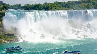 NIAGARA FALLS, ONTARIO, CANADA - 2014/08/19: Niagara Falls is one of the largest tourist attractions in North America. Niagara Falls is the collective name for three waterfalls that straddle the international border between Canada and the United States; more specifically, between the province of Ontario and the state of New York. They form the southern end of the Niagara Gorge. (Photo by Roberto Machado Noa/LightRocket via Getty Images)