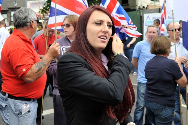 Deputy leader: Jayda Fransen joins British First group protest march at Bury Park on June 27, 2015 in