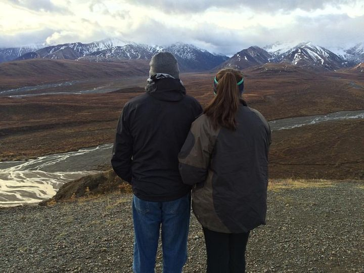 Alexandra and her father in Denali National Park, Alaska.