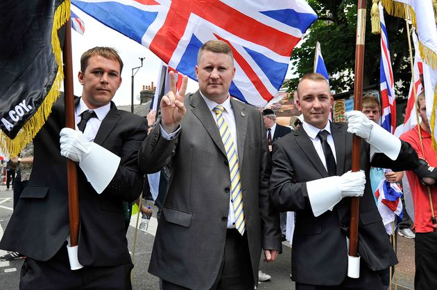 Paul Golding and fellow Britain First activists in Luton in June