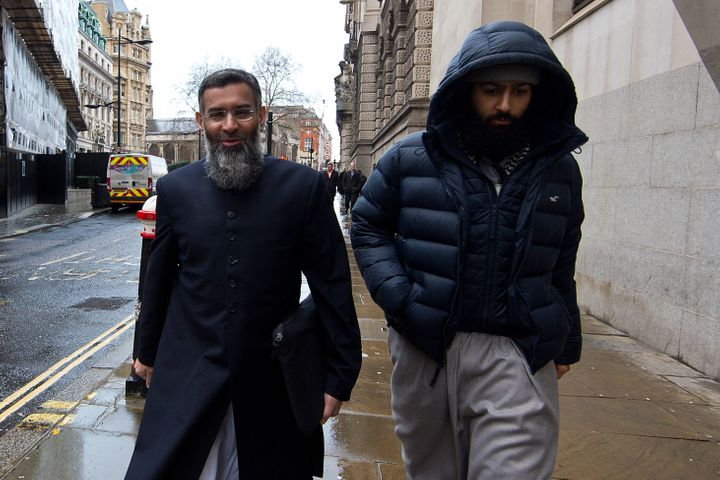 Anjem Choudary (L) arrives at The Old Bailey on January 14, 2016 in London, England.