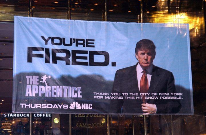 A sign on Trump Tower in New York City.