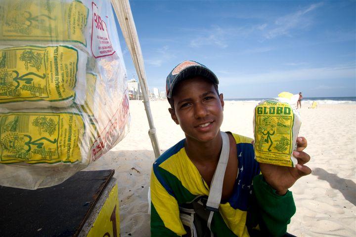 Brazilians typically munch onBiscoito Globo on Rio's beaches.