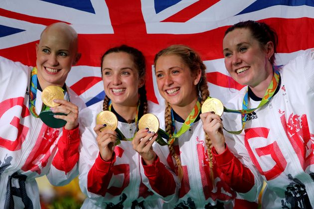 Katie Archibald, right, celebrates with Joanna Rowsell Shand, Elinor Barker and Laura