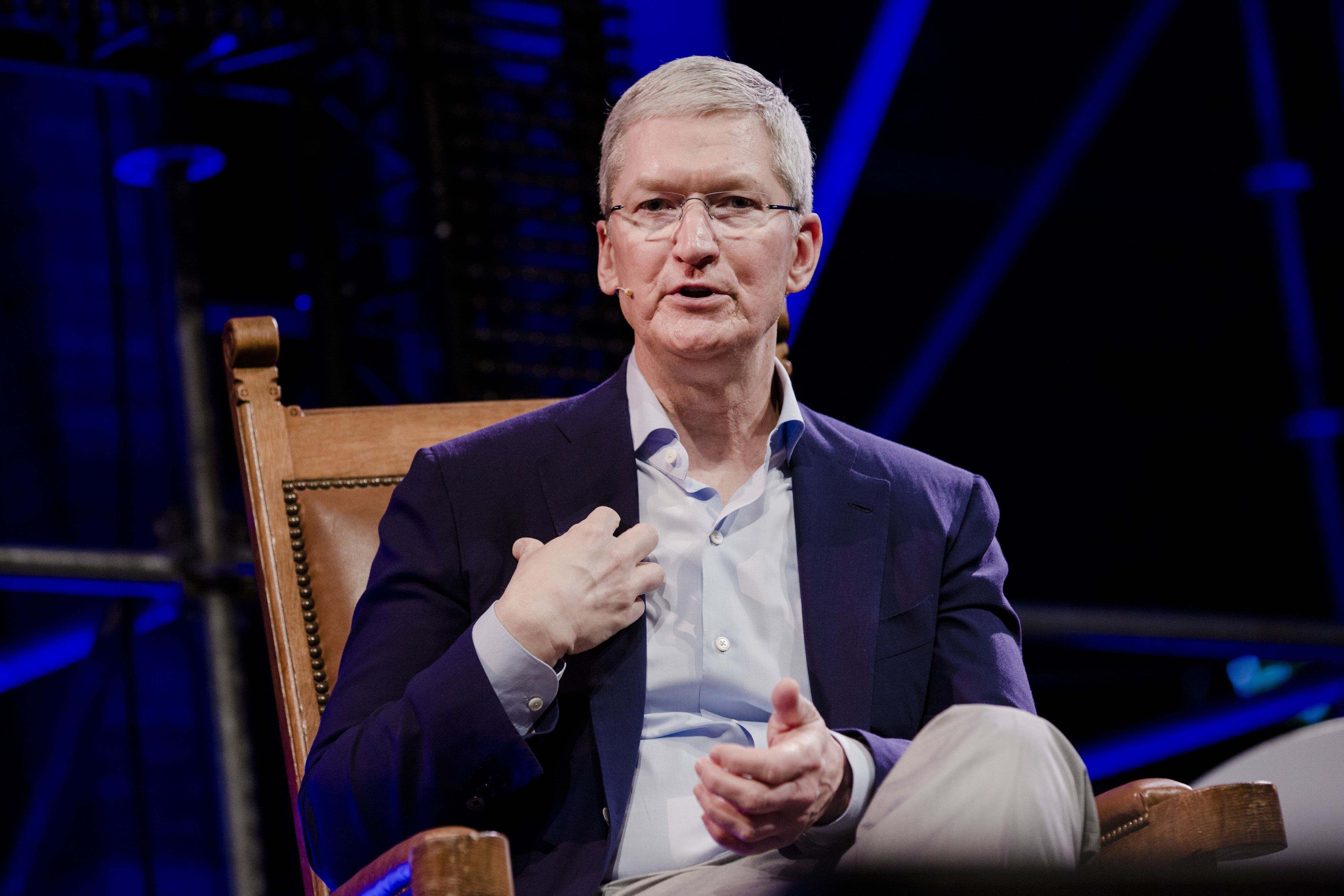 Tim Cook, chief executive officer of Apple Inc., speaks during the opening of 'Startup Fest', a five-day conference to showcase Dutch innovation, in Amsterdam, Netherlands, on Tuesday, May 24, 2016. The Digital City Index for 2015 ranked Amsterdam Europe's second-best city, behind London, for tech startups. Photographer: Marlene Awaad/Bloomberg via Getty Images