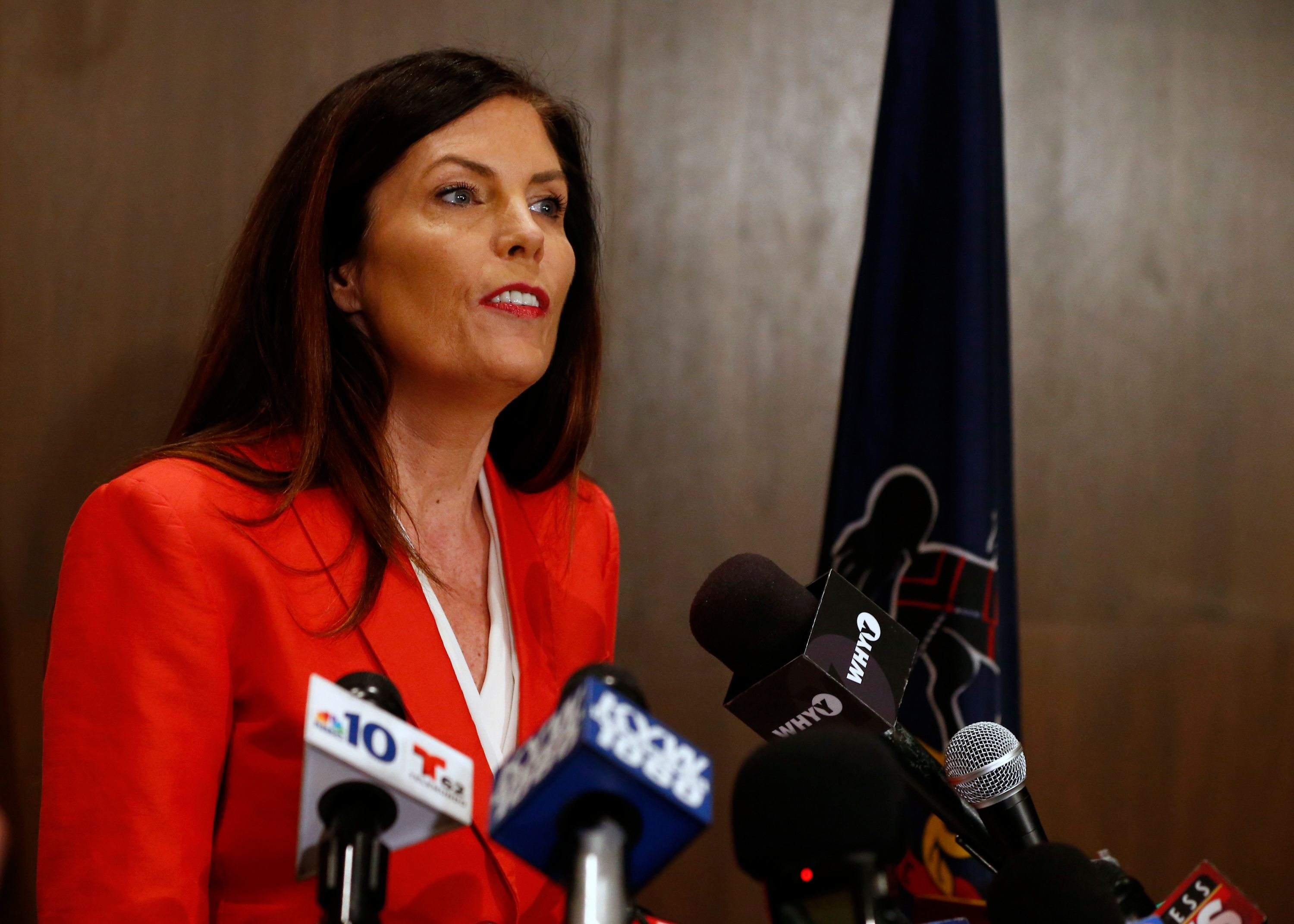 Pennsylvania Attorney General Kathleen Kane speaks during a news conference in Scranton, Pa., Tuesday, Feb. 16, 2016. Kane said she will not seek a second term, facing pressure from within her own party after being hobbled for months by criminal perjury charges and the suspension of her law license. (AP Photo/Rich Schultz)